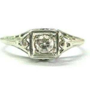 Jewelry - Vintage 18Kt Old European Cut Diamond White Gold S